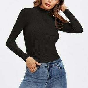 Midnight Black Mock Turtleneck Top